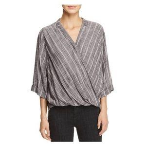 Elan stripe cross over blouse